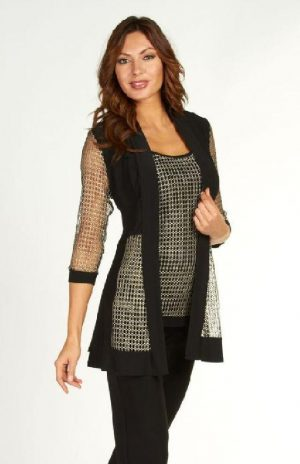 Frank Lyman 63266 Black Gold Mesh Jacket