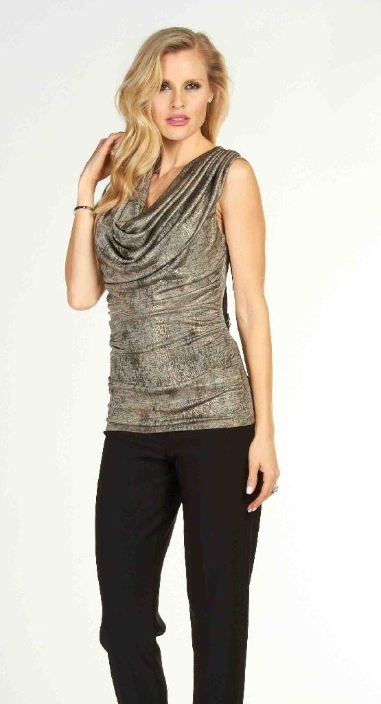 Frank Lyman 63329 Silver Grey Ruched Top