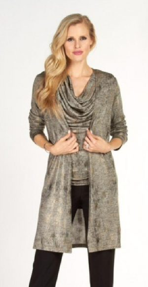 Frank Lyman 63330 Silver Gold Effect Jacket and cowl neck top