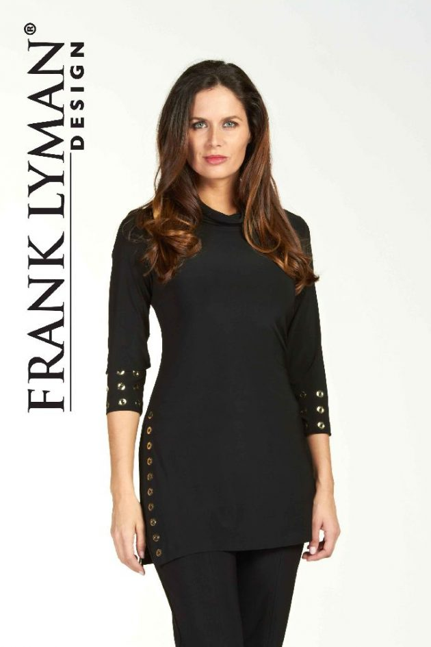 Frank Lyman 64022 Black Gold Rings Tunic