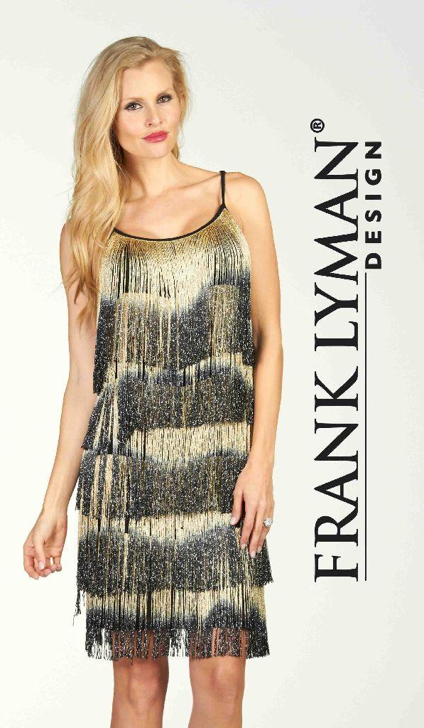 Frank Lyman 64117 Black Gold Tassels Dress