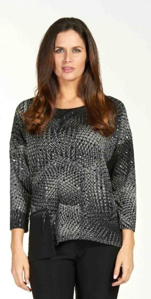 Frank Lyman 64289 Black Grey Top