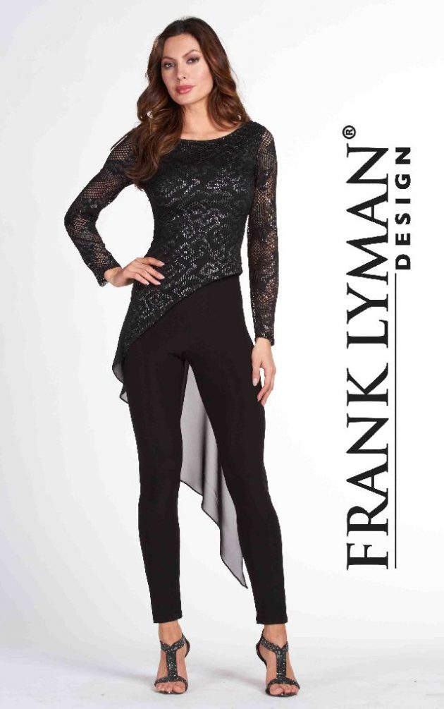 Frank Lyman 65296 Black & Silver Long Voile Top