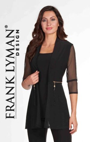 Frank Lyman 66037 Black Zips At Front Jacket