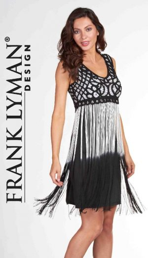 Frank Lyman 66101U Black White Tassels Dress