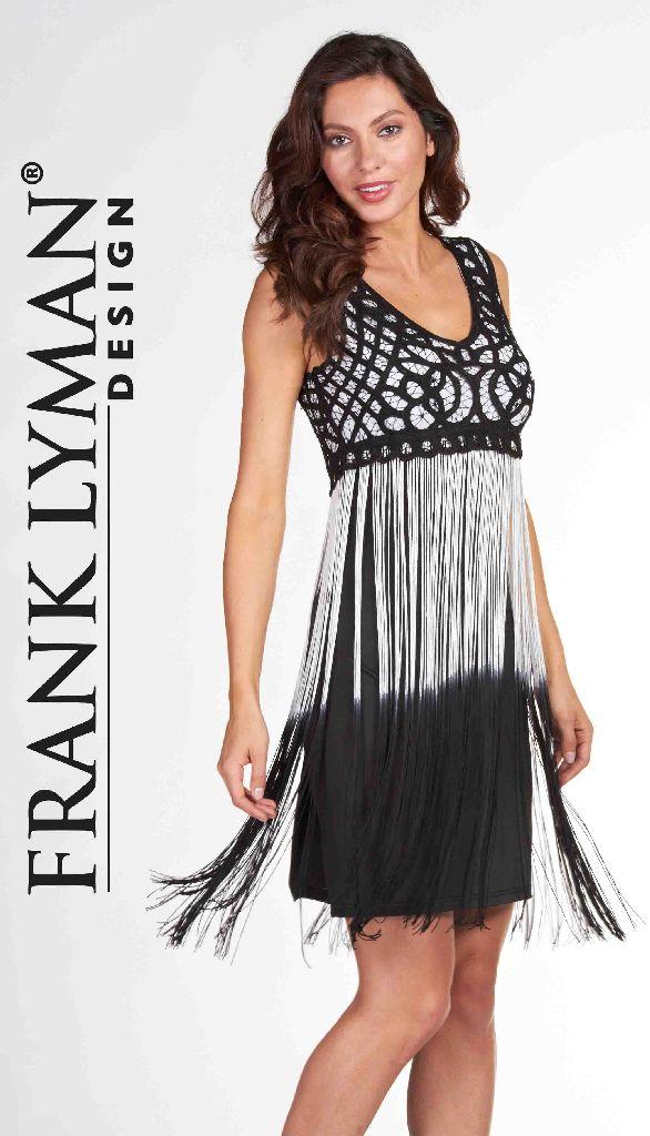 Frank Lyman 66101U Black White Tassels Dress