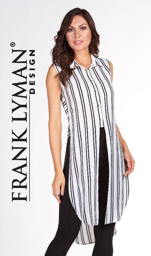 Frank Lyman 66394 Off White Black Striped Top