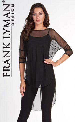 Frank Lyman 66408 Black Top Voile Overlay