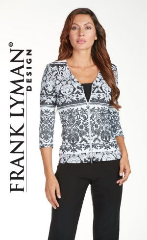 Frank Lyman 171601 Geometric Design Zip-Up Jacket