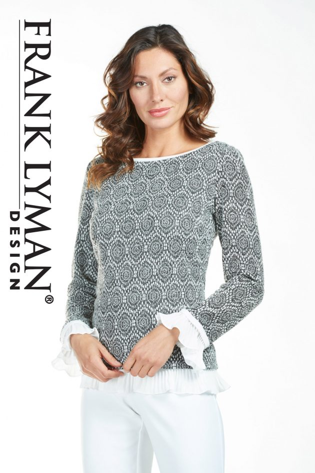 Frank Lyman 185147 Grey, White Sweater Lower Frill