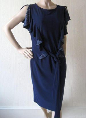 Joseph Ribkoff 10330 Navy Dress With White Spotted Frills