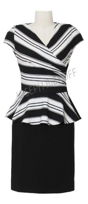 Joseph Ribkoff 40932 Black and White Peplam Dress