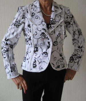 Joseph Ribkoff 71346 White and Black Swirled Flowers Jacket