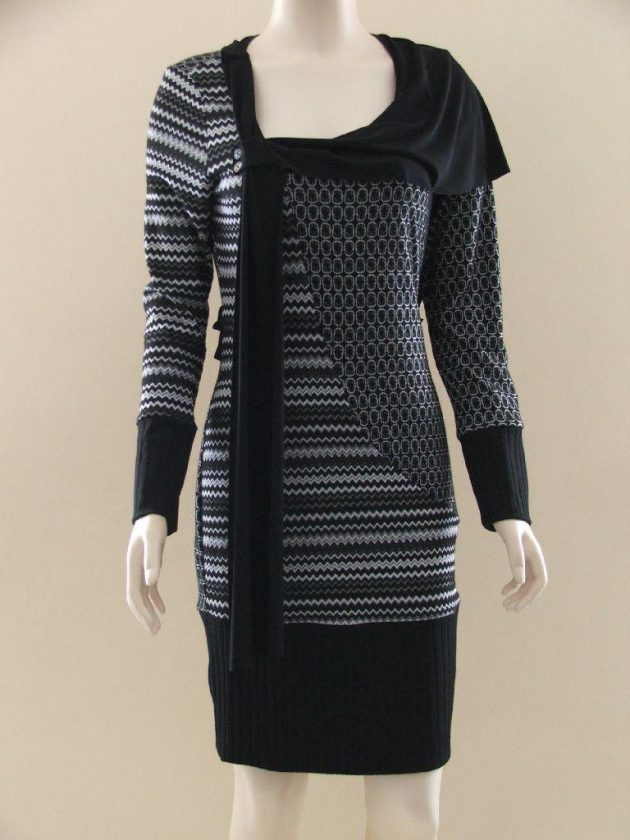 Joseph Ribkoff 22582 Black & White Tunic with Floaty Back