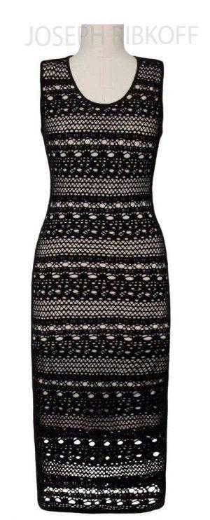 Joseph Ribkoff 152520 Black and Cream Net Effect Long Dress