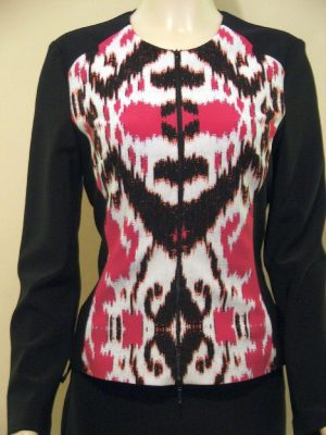 Joseph Ribkoff 22604 Black Fuschia and White Zip-Up Jacket