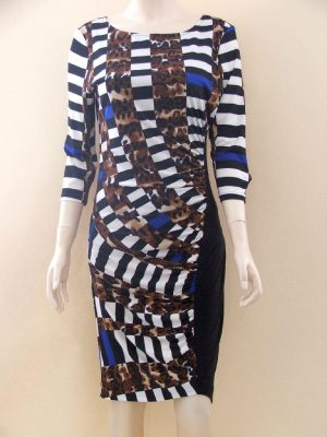 Joseph Ribkoff 22900 Chequered Leopard Dress