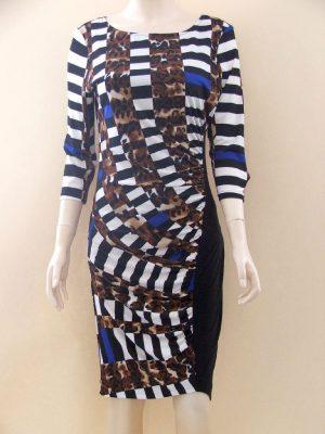 Joseph Ribkoff 22900 Chequered Leopard Dress