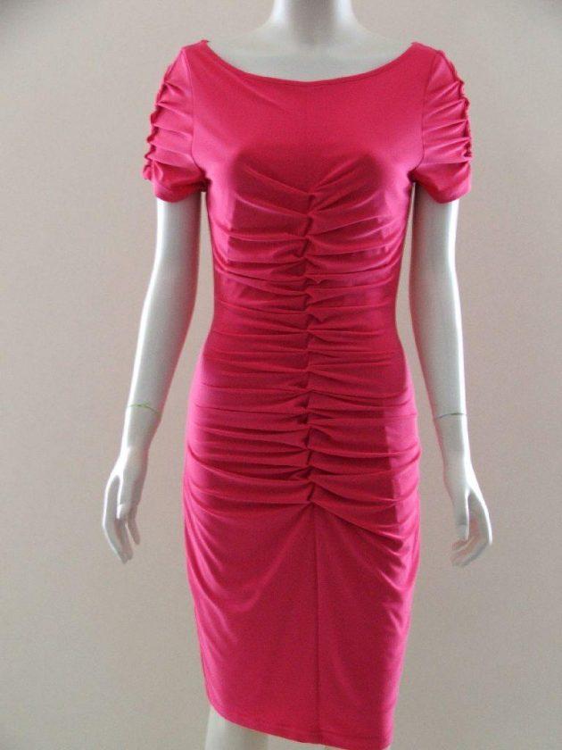 Joseph Ribkoff 20014 Fuchsia Gathered Front Dress
