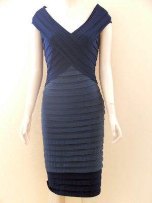 Joseph Ribkoff 21927 Navy Bandage Cocktail Dress
