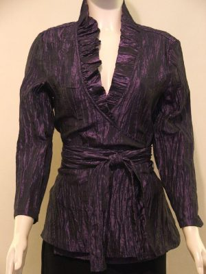 Joseph Ribkoff 24231 Purple Crushed Taffeta Cross Over Top