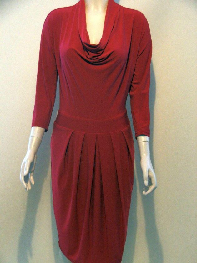 Joseph Ribkoff 12010 Red Cowl Neck Dress