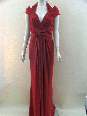 Joseph Ribkoff 24008 Red Halter neck, cap Sleeve Evening Dress