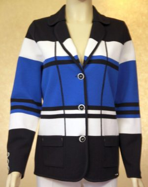 Lucia 422414 Royal Black and Blue Striped 3 Button Jacket