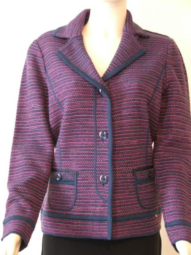 Lucia 412394 Navy & berry striped jacket
