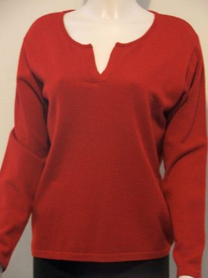 Lucia 11240 Red V Neck Sweater