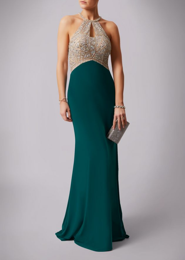 Mascara MC181133P Teal and Champagne Dress