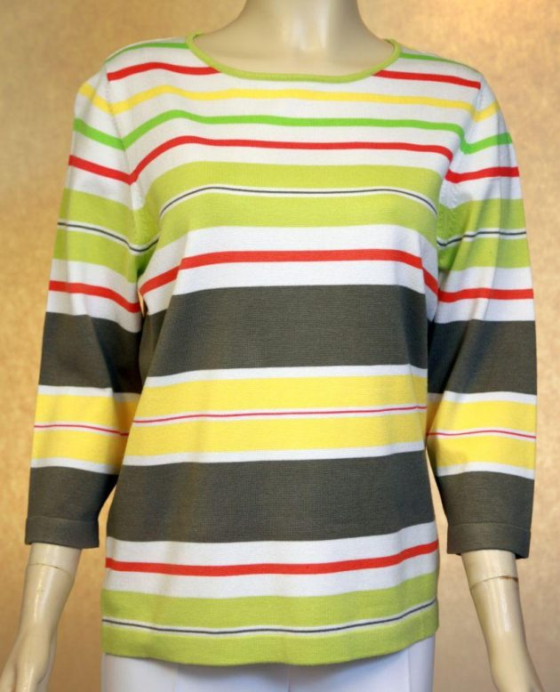 Rabe 021400 Pastels & Grey Striped Sweater