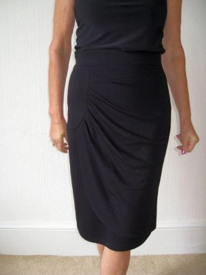 Joseph Ribkoff 22199 Black Straight Ruched Skirt