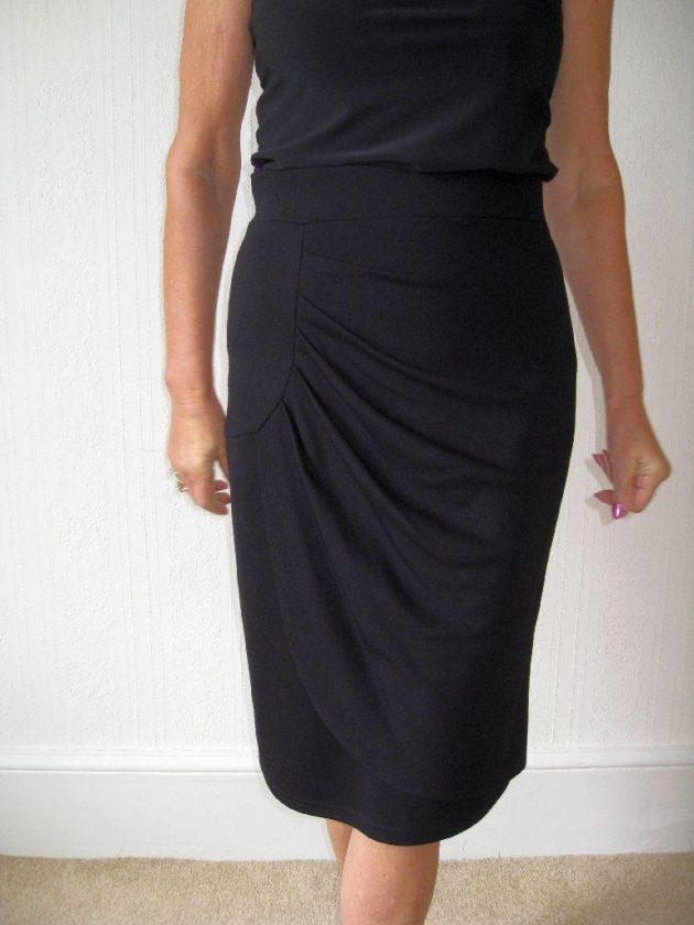 Joseph Ribkoff 22199 Black Straight Ruched Skirt