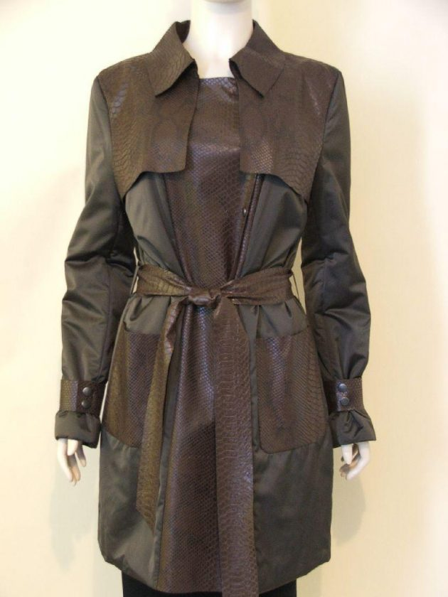 Simorra 80222277 Brown 3/4 Coat in Leather & Material